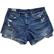 Polo Ralph Lauren Crosby Shorts Womens Size 31 Cutoff Distressed Blue Denim