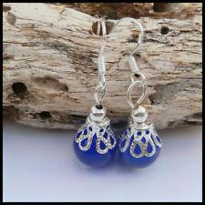 Glass Drop/Dangle Sapphire Fashion Earrings