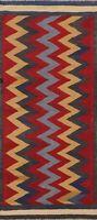 Chevron Kilim Reversible Oriental Runner Rug Hand-Woven Zig-zag Wool Carpet 3x6