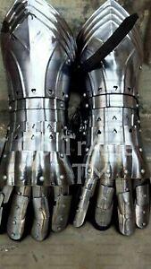 Medieval Antique Iron Steel Gauntlets Gloves Larp Re-enactment Halloween Costume