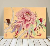 "Beautiful Japanese Floral Art ~ CANVAS PRINT 8x10"" ~Pink Blossom and Wren Bird"