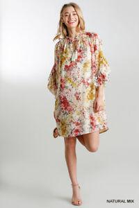 PLUS XL-1XL-2XL UMGEE NATURAL Floral Print Ruffle Hem Dress/Tunic BHCS