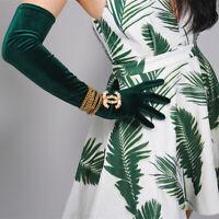 Velvet Gloves Opera Elbow Long Stretchy Deep Green Peacock Touchscreen Sensitive