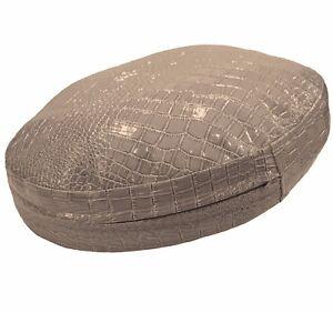pd1007r Tan Round Faux Crocodile Glossy Leather Cushion Cover Custom Size