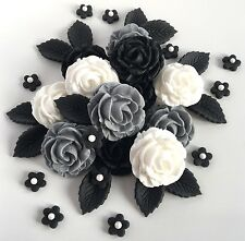 Grey White & Black Edible Roses Bouquet Gothic Wedding Funeral Cake Decorations