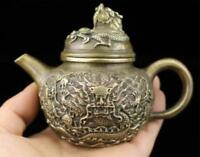 Chinese hand made Handle dragon teapot wine pot Flagon old brass statue