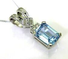 "Pretty Topaz & Diamond 9ct White Gold Pendant + 16"" Chain"