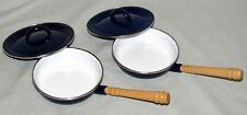 2 Vintage Childrens Toy Frying Pans Ikea Blue Enamel Covers Wood Handles Sweden