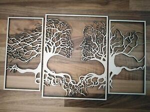 Baum  Wanddeko 3 Teile Holz