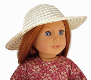 """Cream Straw Hat Bonnet for 18"""" American Girl Doll Clothes Accessories"""