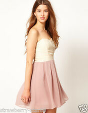 TFNC Pleated Chiffon Bandeau Skater Dress  XSmall  Nude / Taupe