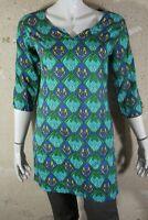 LA FIANCEE DU MEKONG TAille 36 Superbe blouse tunique manches 3/4 bleu vert