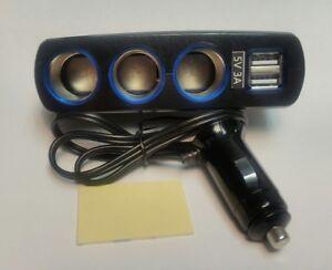 3 Socket cigarette lighter with 2 ports USB. 2 ports USB car charger,