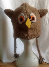 Knitted Owl animal hat, 100% Wool with Fleece Lining