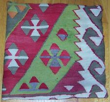 "15""x15"" (38cmx38cm) Turkish Antique Handmade Konya Wool Kilim Pillow Cover"
