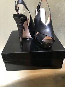 Boutique 9 NISTERIA Peep Toe Slingback leather Platform woven Heels 8 US NWB