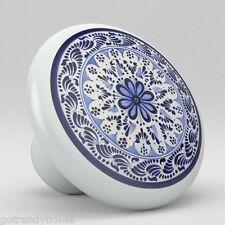 Round Talavera Design Ceramic Knobs Pulls Kitchen Drawer Cabinet Dresser 1203