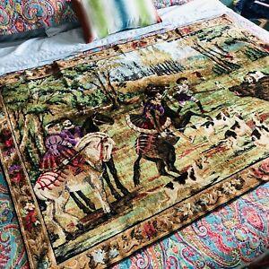 Vtg Royal Horse & Hound Hunting Animal Boar Fringe Tapestry Rug Wall Hanging
