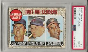 1968 TOPPS #4 A.L RBI LDRS, PSA 9 MINT, SET BREAK - YAZ, F. ROBINSON, KILLEBREW