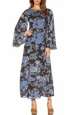 Free People Melrose Maxi Dress Black Blue Floral Open Back Sz 4 S NWOT