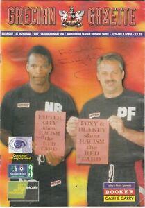 Exeter City v Peterborough United - Program Sat 1st Nov 97 BARRY FRY SIGNED