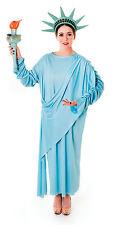 Donna BLU Statua della Libertà Costume Vestito Da Donna UK 10-14