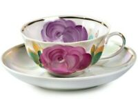 Tea cup and Saucer Floral Decal Russian Dulevo Porcelain 7.5 fl oz Porcelain Cup