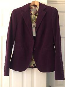 Per Una Cord Jacket Blazer Size 12 Purple With flower lining