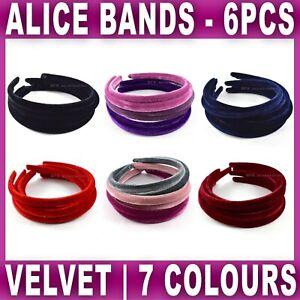 6x VELVET ALICE BAND headband head hair bands aliceband alicebands Womens Girls