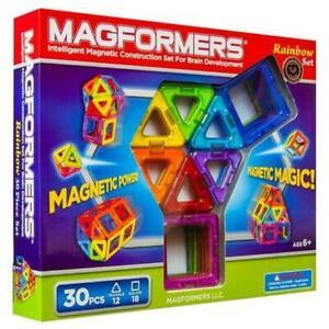 MAGFORMERS 63076 Plastic 30-Piece Magnetic Building Blocks Rainbow Set NIB Shape