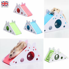More details for pets rat hamster toy wood exercise house cage with ladder slide nest accessories