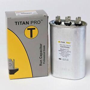 TitanPro TOCFD35/5 HVAC Oval Motor Run Dual Capacitor. 35/5 MFD/UF 440/370 Volts