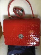 🌹NWT ARCADIA Patent Red Luxury Genuine Leather LARGE Satchel Handbag Italy🍷