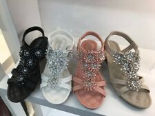 Ladies Heel Diamante Sandals Womens Low Wedge Slingback Toe Post Summer Size 3-8