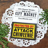 """DECO MAGNET 2""""x3"""" PROTECTED BY ATTACK CHIWEENIE Fridge Magnet dog breeds USA"""