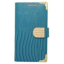 Fundas y carcasas color principal azul de piel para teléfonos móviles y PDAs HTC