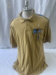 Polo Ralph Lauren Vintage Tan Plaid Casual Shirt Mens 4XL Cotton Epaulettes