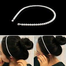 YEAH New Fashion Lady Imitation Pearl Headband Hair Band With Hair Tie Ring Hoop