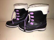 alpine design Black White Purple Laced Girls Boots Faux Fur Sz.4