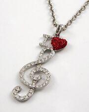 I *Heart* Treble Clef Music Musician Heart Love Big, Beautiful Necklace #402-C