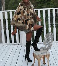 Designer custom Stroller elegant Multicolor mink Fur cape coat jacket S-M 0-10