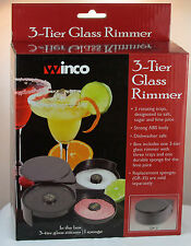 Three Tier Glass Rimmer, Great for Margaritas, Salt / Sugar / Lime Trays, NEW!!