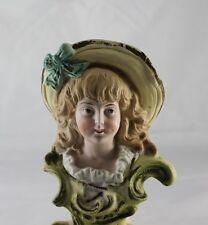 Superb German Girl Bisque Porcelain Bust Statue Figurine