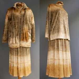 Linda Lundstrom 4pc Outfit Puffer Jacket Copper Ombre Velvet Skirt Top Scarf M