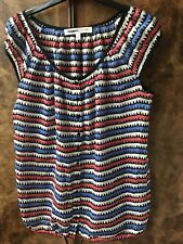 Summer gauzy red white and blue stripe blouse top, cap sleeves. Size S UK 10