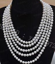 Natürliche 7-8mm weißen Süßwasser-Perlenkette 254 cm