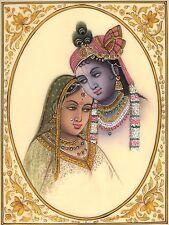 Radha Krishna Indian Hindu Painting Handmade Miniature Folk Home Decor Art