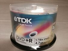 100 Discs TDK 16X DVD+R White Printable 4.7GB 120MIN (50 Pack x2)