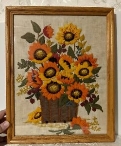 Vintage Framed Crewelwork Embroidery Sunflowers Orange Yellow Cottagecore Farmy