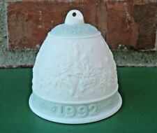Lladro Spain Porcelain 1992 Christmas Bell Ornament White & Mint Green ~ No Box